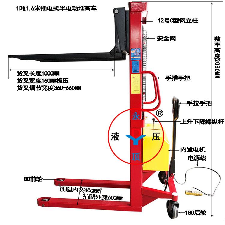 插电式1吨提升1.6米半电动堆高叉车