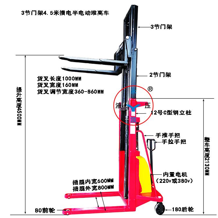 C型钢1吨提升4。5米3节门架插电式220V/380V半电动堆高叉车