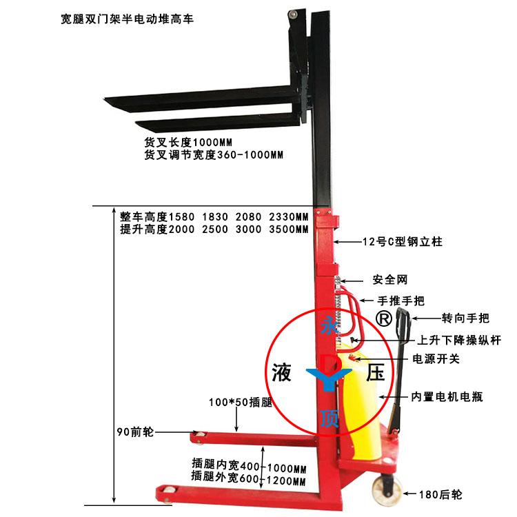 1吨2米 2.5米 3米双门架宽腿半电动堆高叉车
