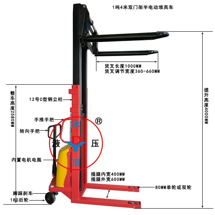 1吨4米双门架半电动堆高叉车
